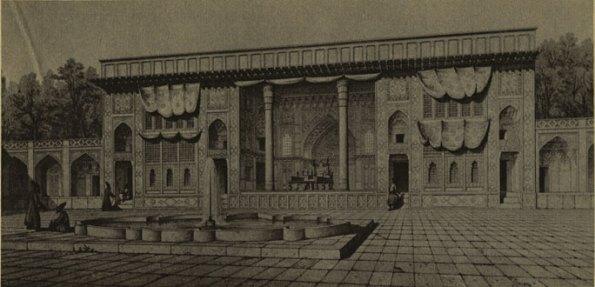نمای ایوان تخت مرمر - کتاب سفر در ایران ، اوژن فلاندن و پاسکال کست ،7 -1256 ه.ق